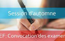 LEF : Convocation aux examens session d'automne (Rattrapage) A.U: 2019-2020