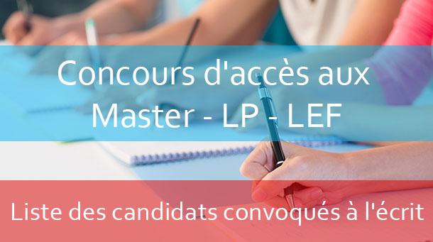 Concours d'accès aux Masters / LPs / LEF : Répartition des candidats par salle d'examen