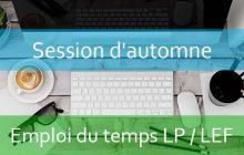 LPs / LEF (العلوم السياسية) : Emploi du temps Session d'automne A.U/2018/2019