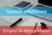 Master : Emploi du temps Session d'automne A.U/2018/2019