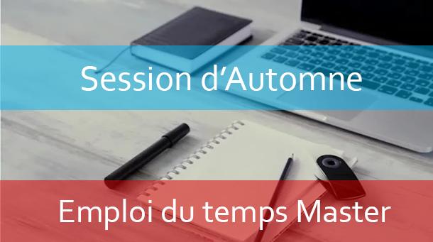 Master : Emploi du temps Session d'automne A.U/2020/2021