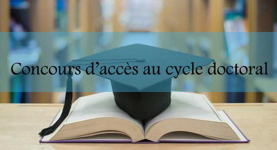 <center>Concours d'accès au cycle doctoral 2020-2021<br>Résultats définitifs et calendrier d'inscription</center>