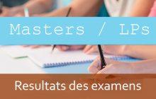 Masters / LPs : Résultats des examens - session d'automne A.U: 2019/2020