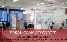 <center>Formation continue <br>Licences professionnelles d'université / Masters d'université