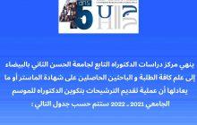 Planninig de candidature du cyle de doctorat 2021-2022 de l'UH2C