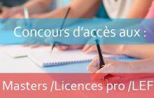 Concours d'accès aux : Masters /Licences professionnelles /Licences d'études fondamentales AU : 2019-2020 <br>Listes des candidats convoqués à l'oral