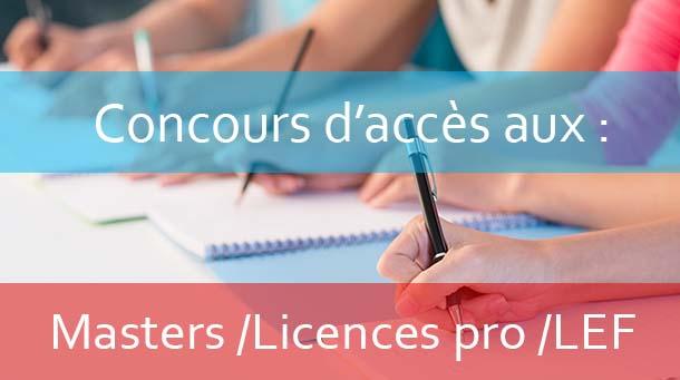 Concours d'accès aux : Masters / LPs / LEF<br>Pré-candidature en ligne fermée  AU : 2019-2020