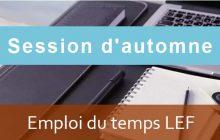 LEF: Emploi du temps Session d'automne A.U/2019/2020