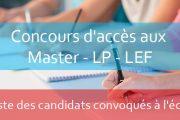 Liste descandidats convoqués à l'écrit (Master, LP, LEF)