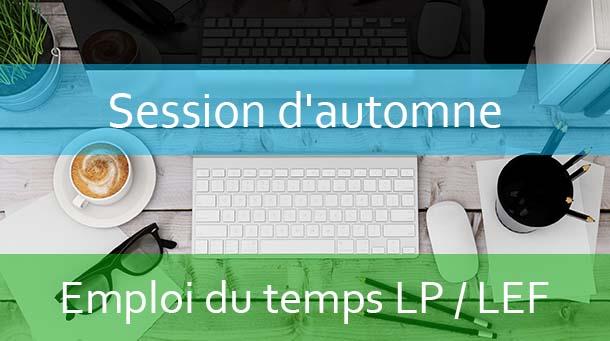 LPs / LEF (العلوم السياسية) : Emploi du temps Session d'automne A.U/2019/2020