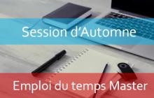 Master : Emploi du temps Session d'automne A.U/2019/2020